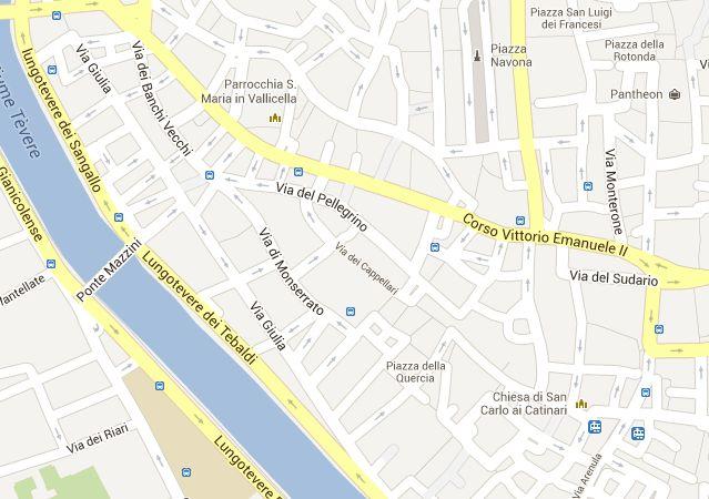 plattegrond Rome rond Campo de Fiori